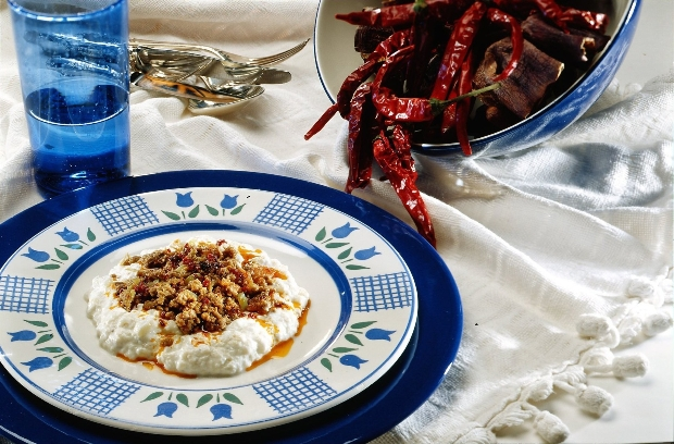 Sauteed Ground Lamb and Eggplant Puree with Yoghurt