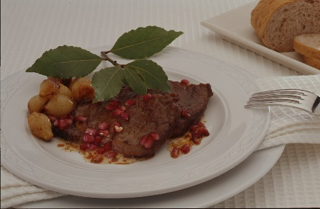 Steak with Pearl Onions and Pomegranate Kernels