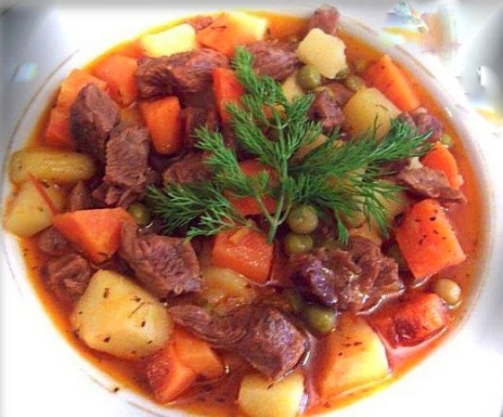 Lamb Stew with Potatoes, Carrots and Peas