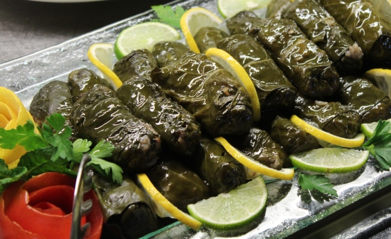 Stuffed Grape Leaves Cooked in Olive Oil